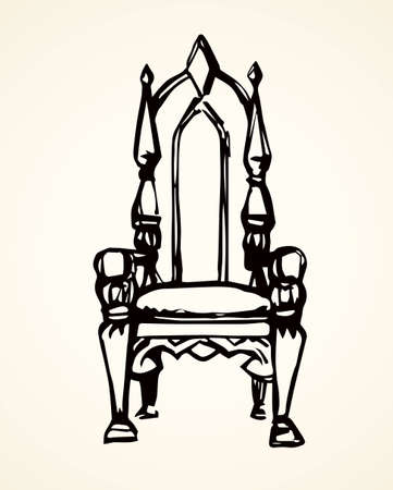 Classic fashion palace lux exquisite sit arm stool design on white background. Freehand line black ink hand drawn  sketchy in art retro doodle cartoon graphic style pen on paper and space for text