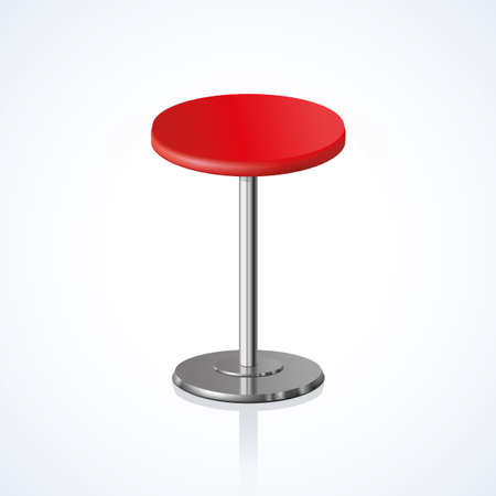 Big lap disk shape vivid scarlet color stylish 3d barstool stand on one solid shiny stem foot on white backdrop. Pub club trendy equipment object concept design. Close-up side view with space for text 向量圖像