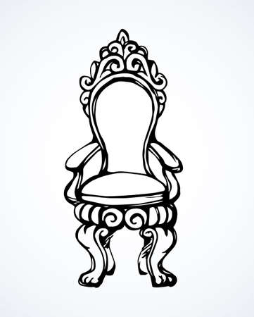 Fashion palace lux exquisite sit stool on white backdrop. Freehand outline black ink drawn object  sketchy in art modern contour doodle cartoon graphic style pen on paper. Closeup front view with space for text