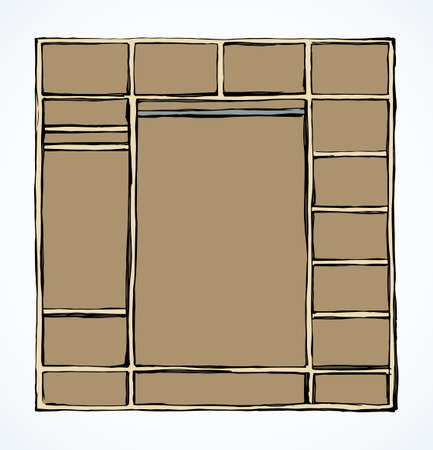 Wooden stillage section design on white backdrop. Freehand line black ink hand drawn icon symbol plan in modern art doodle cartoon silhouette style pen on paper. Front detail view with space for text