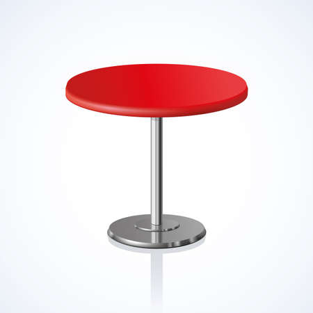 Big lap disk shape vivid scarlet stylish 3d board platen stand on one solid shiny stem foot on white backdrop. Club concept design object. Close-up side view with space for text 向量圖像