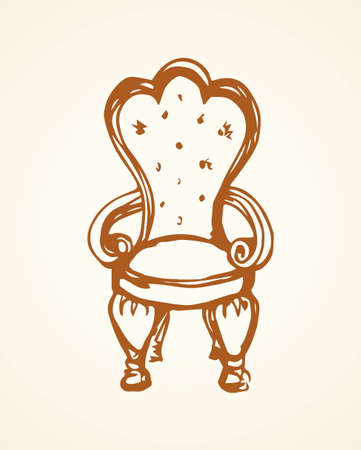 Classic fashion palace lux exquisite sit arm stool design on white background. Freehand line black ink hand drawn   sketchy in art retro doodle cartoon graphic style pen on paper and space for text Ilustrace