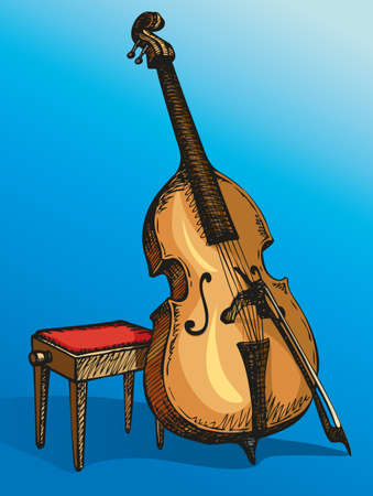 Vector color drawing Double Bass with a bow, supported on a stool for a musician Illustration