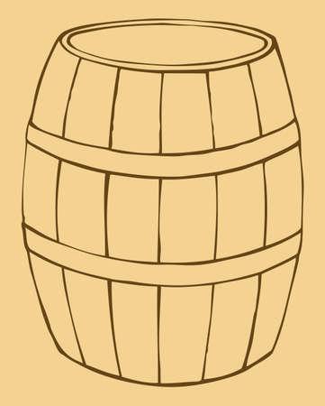 Vector monochrome contour illustration of old wooden barrel Ilustração