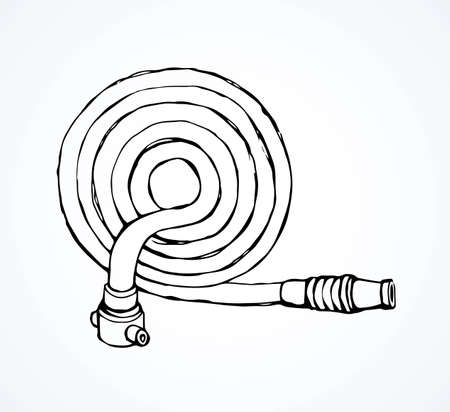 Old cotton pour attack pipeline fire hose gear on white backdrop. Freehand black ink hand drawn 911 save risk object concept emblem sketchy in modern art scribble style pen on paper space for text