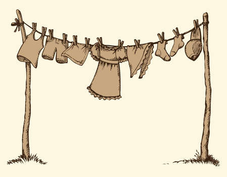 Clotheshorse with clothespeg on cord stretched over wooden sticks with copyspace on sky at summer washday. Freehand ink hand drawn backdrop sketch in scribble style pen on paper with space for text