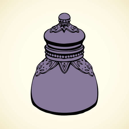 Royal luxury old dark kitchen glass jug with salt isolated on white background. Outline ink hand drawn picture sketch in art retro doodle style pen on paper. View closeup and space for text on label
