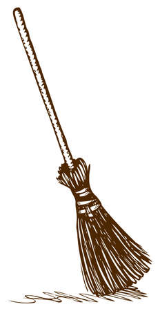 Old wicker broom on a long holder. Vector monochrome freehand drawn background sketching in style of antiquity pen on paper with space for text