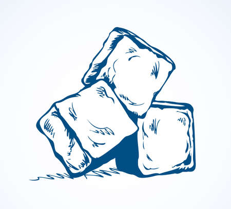 Stylized algid gelid glacial bricks icon isolated on white backdrop. Freehand ink drawn symbol sketchy in art scribble retro style pen on paper. View closeup with space for text on light azure surface