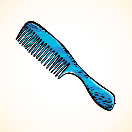 Old cute cyan female comb item  concept isolated on white backdrop. Freehand bright color hand drawn linear pictogram sketchy in art retro scrawl style. Closeup view and space for text Illustration