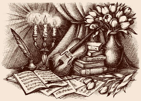 Still life of violin on old books and pages with notes. Vector monochrome freehand sketchy ink outline drawn backgdrop in antiquity engraving style with space for text