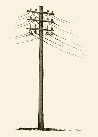 Phone electronic mains post stand in winter field near road. Freehand linear ink hand drawn icon picture sketchy in art scribble style pen on paper. Side view with space for text on foggy sky Ilustración de vector