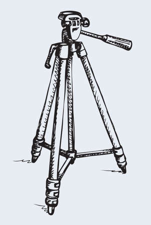 Aluminum trestle theodolite rack holder on three legs support for shot isolated on white background. Freehand outline hand drawn scribble picture sketch pen on paper. Closeup view with space for text