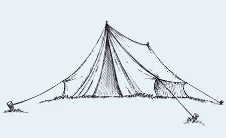 Tourist tent tarpaulin stretched a rope tied to a wooden peg in grass. Vector monochrome freehand ink drawn background sketchy in art scrawl antiquity style pen on paper with space for text