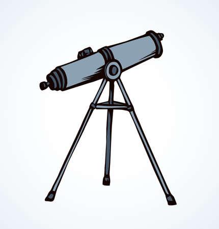 Old monocular spotting tube device on white sky backdrop.