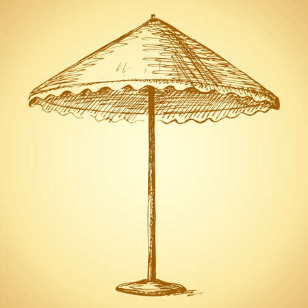 Big canvas canopy from sun on high metal legs with stand. Vector freehand linear ink drawn sketchy background in art antiquity scribble style pen on paper with space for text