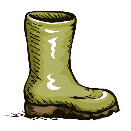 Trendy old cozy styled rainy wellie isolated on white background. Freehand vibrant khaki color hand drawn icon symbol sketchy in art scribble retro style. Side closeup view with space for text