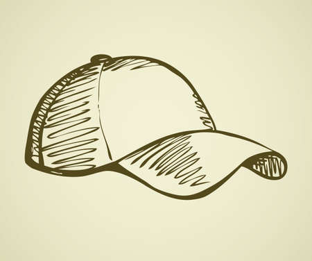 Big cute new rough sun shade cap design isolated on white backdrop. Freehand outline ink hand drawn symbol sign sketchy in art scribble retro style pen on paper. Closeup side view with space for text 向量圖像