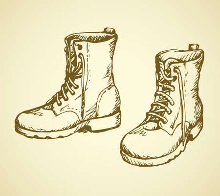 Two rough old reliable eyelets sole forces male boots isolated on white background. Freehand outline ink hand drawn icon symbol sketchy in scribble retro cartoon style pen on paper. Closeup view 向量圖像
