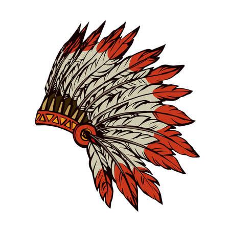 West navajo injun man chieftain adornment warbonnet on white background. rough festival bonnet.