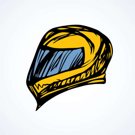New modern shiny carbon crash helmet cover on white backdrop. Freehand outline vivid ink hand drawn picture sketchy in art retro scribble style pen on paper. Closeup side view with space for text
