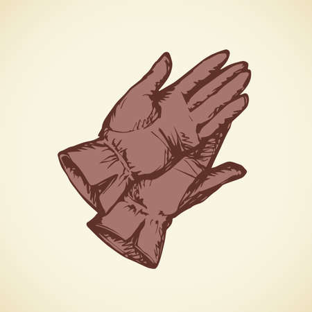 Two new red suede lie gauntlet mitts set isolated on white snow backdrop. Freehand outline brown ink drawn picture object  sketchy in art scribble retro style. Closeup view with space for text
