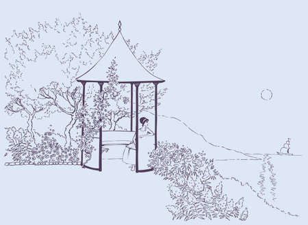 Vector image. A young girl rests in a cozy alcove in the lush garden near the sea