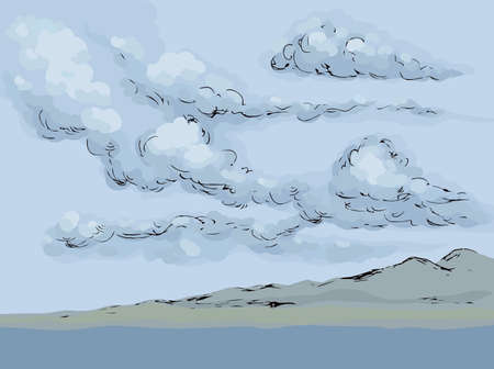 Stream bank fog scenery view on blue heaven backdrop. Dark gloomy color hand drawn gale rocky mount painting sketch picture in art cartoon graphic style. Panoramic windy scene with copyspace for text Ilustrace