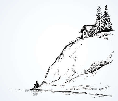 Wood pine hut on high riverside cliff. Sad calm lone young girl on space for text on white sky. Wild spring Alpine waterfront pond scenic view picture in art vintage hand drawn black ink graphic style Stock Illustratie