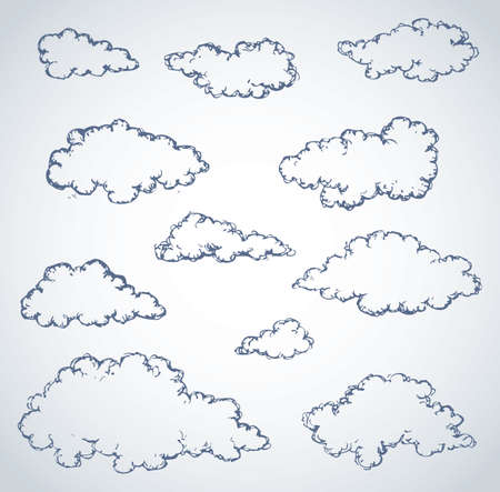 Vector freehand sketchy ink outline drawn backdrop in style of kid book engraving with place for text. Lush fluffy cumulus clouds Vecteurs