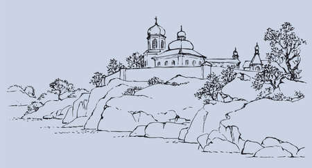 Vector sketch landscape. On a high rocky hill above the river is an old walled city