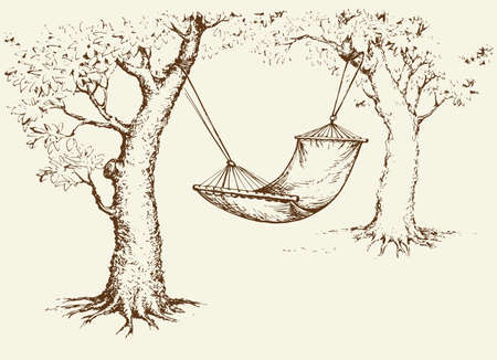 Old fabric sling in shadow of aged apple for swing isolated on white backdrop. Freehand line black ink hand drawn picture sketchy in art scribble retro style pen on paper with space for text on sky