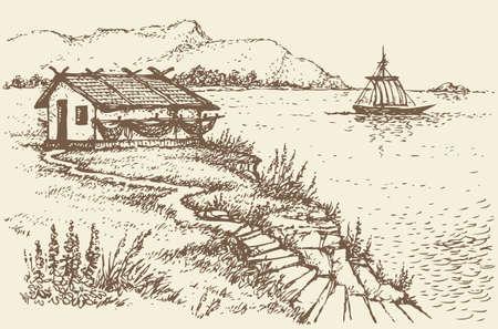 Vector landscape. The old fisherman's hut on a cliff above the quiet sea bay Ilustración de vector