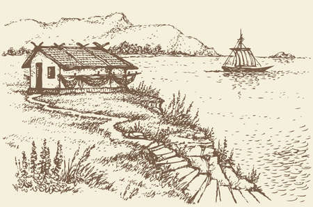 Vector landscape. The old fisherman's hut on a cliff above the quiet sea bay Ilustrace