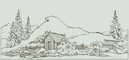 Vector freehand ink scene in style of contour book engraving. Medieval rural landscape with wooden hut under high grassy cliff on the shores of the old pool with space for text against sky backdrop