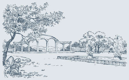 Vector sketch. A landscape of autumn park with a bench under a tree opposite to a fountain