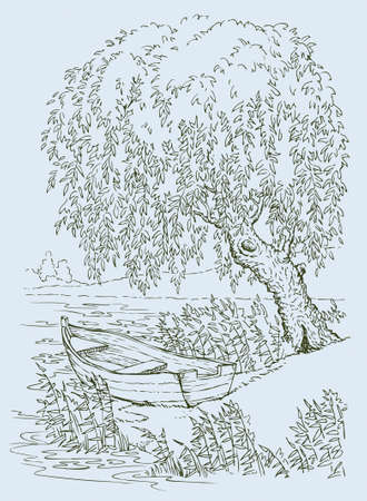 Vector drawing. Old boat on the lake under the swaying branches of a willow