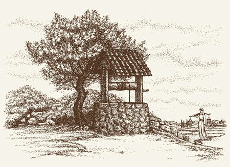 Aged rock source basin with crank covered tiled canopy on village yard. Romantic view. Freehand outline ink hand drawn background sketch in art retro engraving graphic style pen on paper Illusztráció