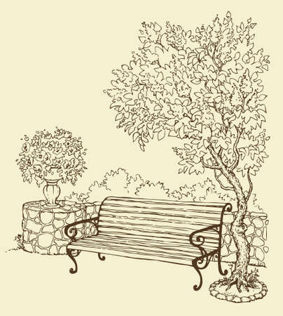 Vector drawing. A quiet romantic corner of the park with a bench under a blooming lilac bush Illustration