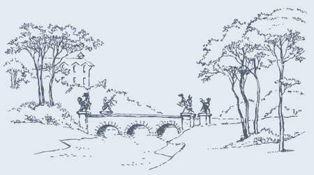 Vector image. Sketch of a palace park landscape with a bridge over the river
