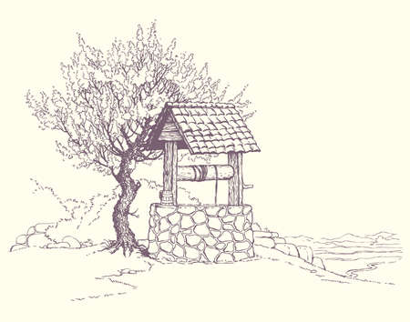 Vector image. Flowering tree near the well on the hill