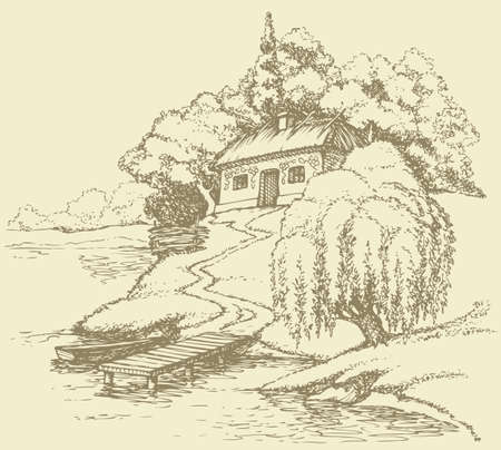 Vector landscape. Old Ukrainian hut on a hill above the river and surrounded by a lush garden