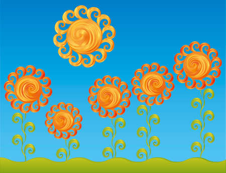 Vector stylization. Decorative flowers under the bright sun