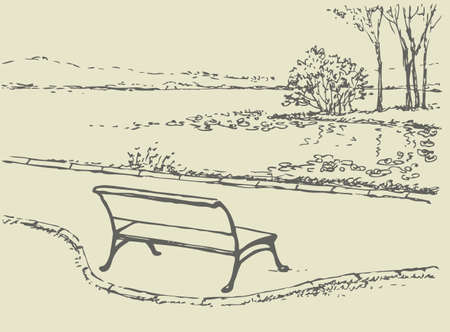 Vector landscape. Cozy, quiet corner of the park. Bench in front of the river with views of the island with wild trees