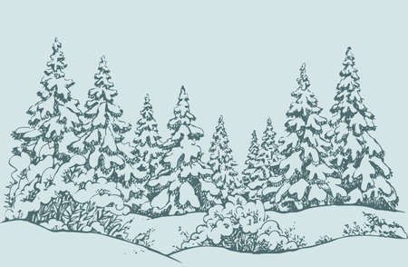 Furry snowcovered piceas in coppice glade. Freehand outline ink hand drawn picture sketchy in art scribble retro style pen on paper. Scenic view with space for text on white sky backdrop Illusztráció
