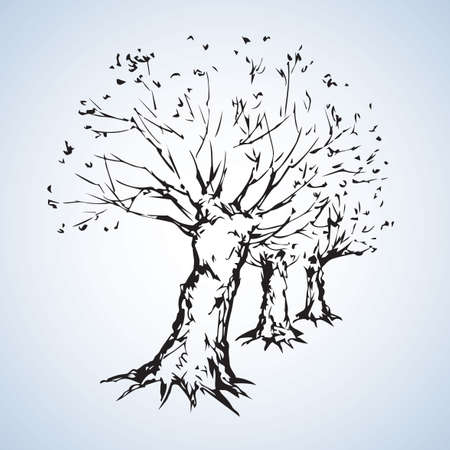 Big cut off deciduous oaktree isolated on white parkway backdrop. Freehand linear black ink hand drawn picture sketchy in art retro doodle graphic style pen on paper with space for text on sky border Иллюстрация
