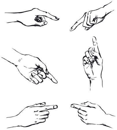 Vector outline. Figure gesticulating hands, pointing at something Ilustração