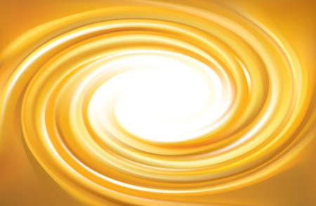 Vector light ocher whirl ripple backdrop with space for text. Beautiful curl fluid surface bright hot amber color. Circle mix of pure fresh sweet carrot, apricot, lemon dessert syrup as eddy caramel Stock Illustratie