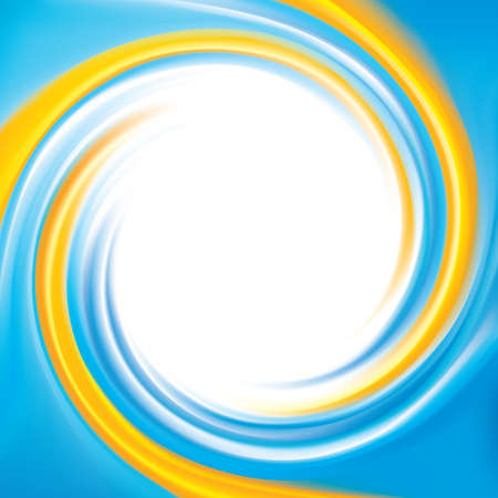 Cheerful ripple backdrop with space for text in glowing white center. Whorl curly surface. Cycle mix of national Ukrainian flag symbolic colors: bright orange and light cyan