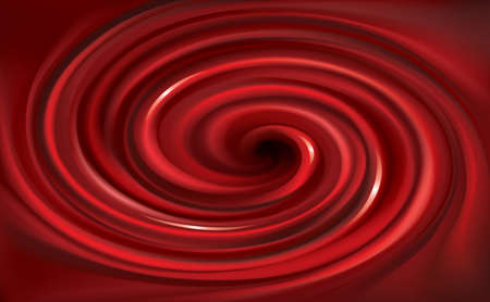 Glossy wavy eddy dark scarlet vinous cycle backdrop. Sweet whirl fluid surface deep claret maroon color. Appetizing curvy mix gel juicy jelly of vibrant ruby fruits: bilberry, cowberry, foxberry, beet
